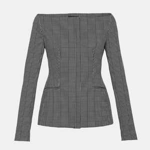 Theory off the shoulder Graphic Check Jacket, NWT